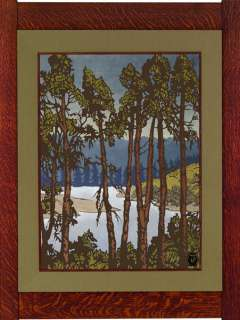 Munman Pine Canvas Giclee Vintage Woodblock Mission Style Art