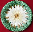 ANTIQUE FRENCH ORCHIES MAJOLICA DAISY & LEAVES PLATE C 1900 4
