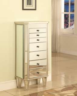 Powell Furniture Mirrored Mirror Jewelry Armoire Storage Chest Cabinet
