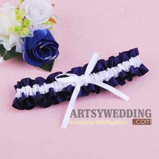 Purple and White Satin Bowknot Toss Party Bridal Wedding Garter