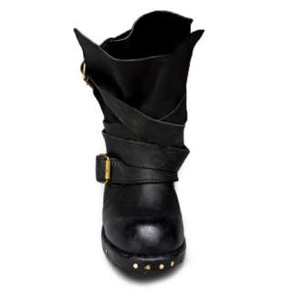 Leather Slouch Wrap Strap Cowboy Motorcycle Riding Boot