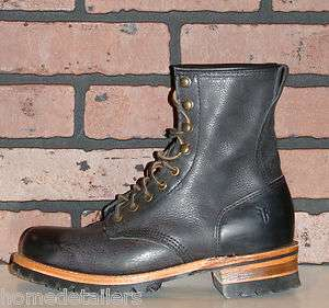 278 FRYE LOGGER Black Leather Boots Mens 7 Lace up Combat Lug Sole