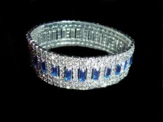 Austrian Crystal Bracelet Bridal Stretch Blue Wedding Jewelry Prom