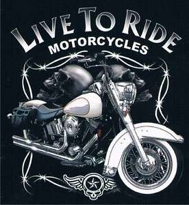 LIVE TO RIDE MOTORCYCLE Skull Adult Humor Funny T Shirt