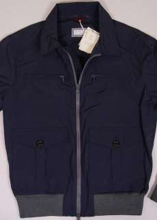 BRUNELLO CUCINELLI COAT $1,695 DARK BLUE DUAL ZIP LIGHT JACKET LARGE