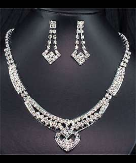 bridal bridesmaids clear crystal necklace earrings set prom ns148