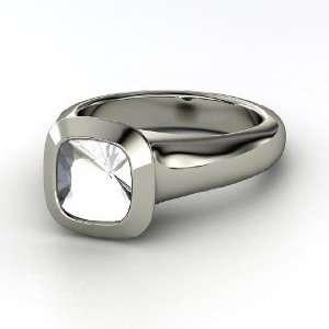 Geneva Ring, Cushion Rock Crystal 14K White Gold Ring