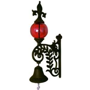 Cast Iron Bell W/ RED Glass Gazing Ball Everything Else