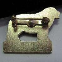Vintage NEWFOUNDLAND DOG brooch painted enamel TIN