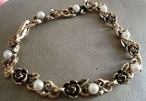 Vintage Goldplated Rose And Pearl Bracelet