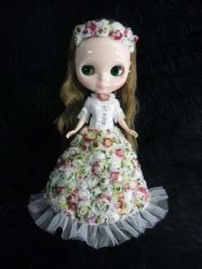 Neo Blythe Outfit Clothing Handmade Basaak Dress Gown Mixed roses and