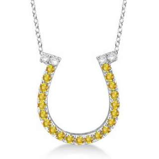 25ct Yellow Sapphire & Diamond Horseshoe Pendant Necklace 14k White