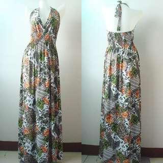 Summer Floral Boho Halter Long Maxi Dress Ladies S XL