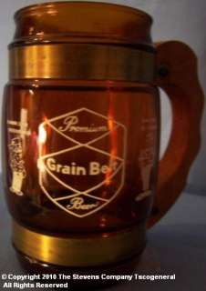 VINTAGE GRAIN BELT BEER WOOD HANDLED GLASS TANKARD W559
