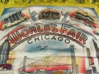 1933 Chicago Worlds Fair Pillow Case Colorful Buildings