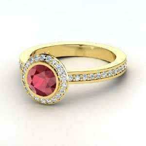 Roxanne Ring, Round Ruby 14K Yellow Gold Ring with Diamond