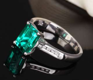 97ct AAA Emerald /Channel Diamond Solid 14K White Gold Engagement