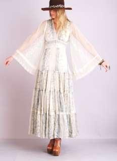 SHEER Gunne Sax Gauze Ethnic Hippie CORSET LACE Up Maxi DRESS