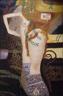 Hand Painted Oil Painting Repro Gustav Klimt Water Snakes