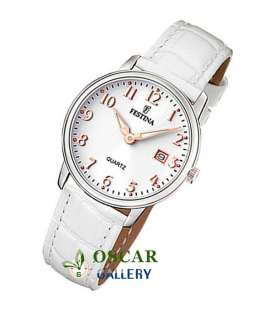 FESTINA CLASSIC F16517/2 WOMENS WHITE LEATHER STRAP WATCH NEW 2 YEARS