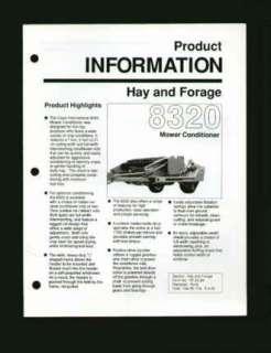 Case IH 8320 Mower Conditioner Information Brochure 89