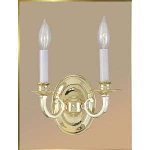 Neoclassical Wall Sconce, JB 7339, 2 lights, Polished Brass, 9 wide X