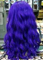 SYNTHETIC FRONT LACE WIG LONG DEEP WAVE UPICK COLOR PURPLE BLODE