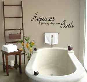 WALL QUOTE vinyl decal sticker HAPPINESS BATHROOM