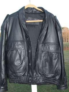 TIGER EXPRESS MENS HEAVY BLACK LEATHER BOMBER MOTORCYCLE JACKET X