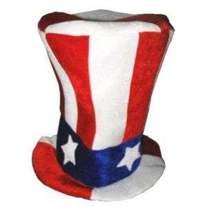 TALL USA RED WHITE BLUE STARS novelty CRAZY TOP HAT #98