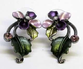 Purple Enamel Flower Crystal Necklace Earring Set s0723