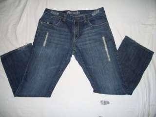 Monarchy Mens 38X33 Dark Blue Jeans Distressed Wear