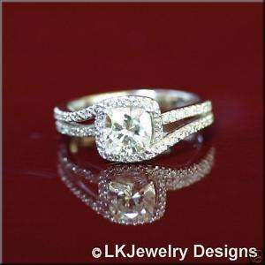 60 CT MOISSANITE CUSHION DIAMOND MICRO PAVE HALO ENGAGEMENT WEDDING