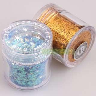 12 Color Nail Art Hexagon Glitter Dust Powder Decoration