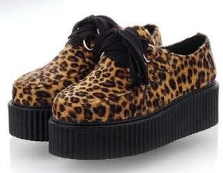 Faux Suede Leopard Lace Up Punk Goth High Platform Flat Creeper Shoes