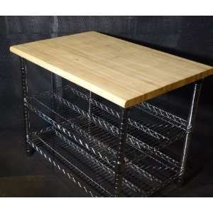 1 1/2 Post Cart Solid Wood Top Two Wire Shelves: Office Products