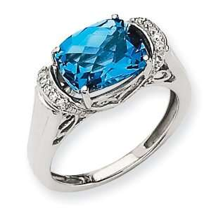 14k White Gold Gemstone & Diamond Ring Mounting Jewelry
