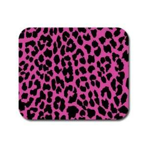 Leopard Print   Pink and Black Mousepad Mouse Pad