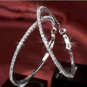 Fashion Womens crystal rhinestone hoop huggie Girls silver earrings