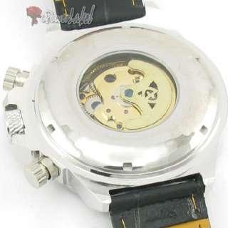 Wrist Leather Automatic Mechanical Mens Watch/Women Black 2011