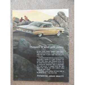 1961 Plymouth, Vintage 60s full page print ad. (gold car/man,woman on