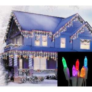 Multi Color M5 Icicle Christmas Lights   White Wire