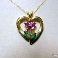 Gemstone Flower Heart Necklace Ruby Diamond Emerald 10K