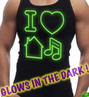 Top I LOVE HOUSE MUSIC Glow In The Dark Neon Green techno club t shirt