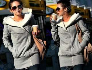 Korea Women Hoodie Jacket Coat Warm Outerwear hooded Zip 4 Sizes two