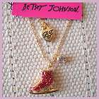 New 16 Betsey Johnson Pendant Necklace Gift FS Gold Tone Rhinestone