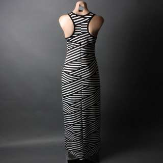 Asymmetrical Striped Racer Back Tank Summer Boho Maxi Long Dress SML
