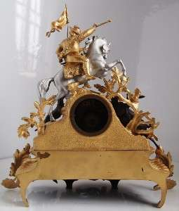 Very impressive 19th c French S.Marti gilt figural horse huntsman