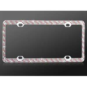White Crystal Rhinestone with Chrome Coating Metal Frame Automotive