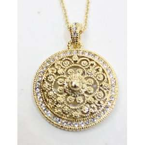 eli k Gold Plate & Clear Crystals Round Medallion Pendant